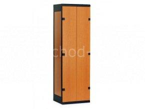 Šatní skříň 2-dveřová, 1750 x 600 x 500 mm - lamino/kov