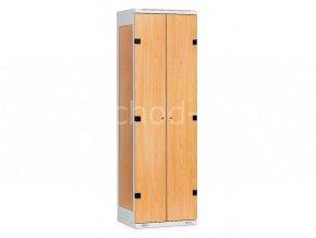 Šatní skříňka 2-dveřová, 1970 x 600 x 500 mm - lamino/kov
