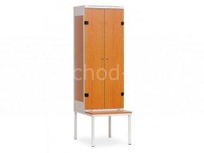 Šatní skříňka 2-dveřová s lavičkou, 2195 x 600 x 780 mm - lamino/kov