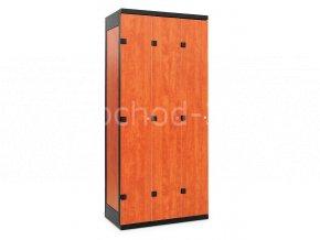 Šatní skříňka 3-dveřová, 1970 x 900 x 500 mm - lamino/kov