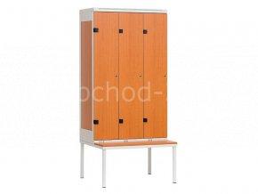 Šatní skříň 3-dveřová s lavičkou, 1970 x 900 x 780 mm - lamino/kov