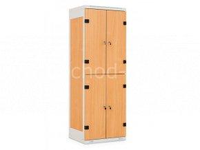 Šatní skříň 4-boxová, 1525 x 600 x 500 mm - lamino/kov
