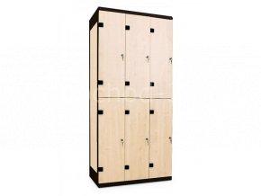 Šatní skříň 6-boxová, 1970 x 900 x 500 mm - lamino/kov