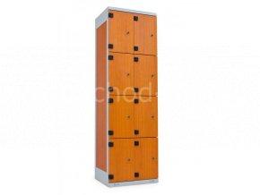 Šatní skříňka 8-boxová, 1970 x 600 x 500 mm - lamino/kov