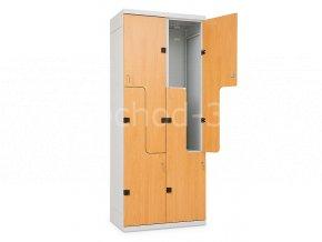 """Šatní skříňka """"Z""""4-boxová, lamino/kov, 1970 x 800 x 500 mm - lamino/kov"""