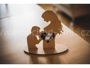 Fotorámeček - Dřevěný stojánek na ultrazvuk - muž a těhotná žena