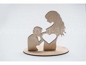 Dřevěný stojánek na ultrazvuk - muž a těhotná žena