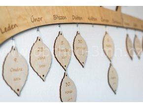 Dřevěný list k rodinnému kalendáři - VELKÝ - S GRAVÍROVÁNÍM