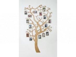 Dřevěný strom s rámečky na zavěšení fotografií - celkový pohled