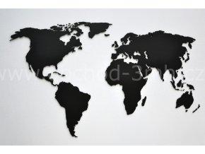 Nástěnná dřevěná MAPA SVĚTA - BAREVNĚ LAKOVANÁ