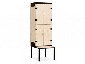 Šatní skříňka 4-boxová s lavičkou, 2195 x 600 x 780 mm - lamino/kov