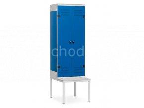 Šatní skříňka 2-dveřová s lavičkou, 1970 x 600 x 780 mm - kovová