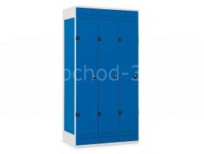 Šatní skříňka 3-dveřová, 1970 x 900 x 500 mm - kovová