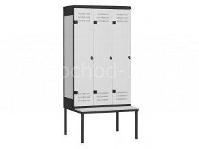 Šatní skříňky 3-dveřové s lavičkou, 2195 x 900 x 780 mm - kovové
