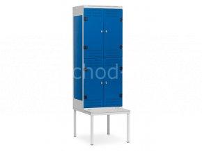 Šatní skříňka 4-boxová s lavičkou, 2195 x 600 x 780 mm - kovová