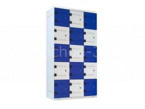 Šatní skříň 15-boxová, 1750 x 900 x 500 mm - kovová