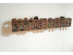 Dětská dřevěná polička - KAMION NA AUTÍČKA - NÁVĚS