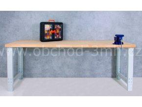 Dílenský stůl 2000 x 655–1005 x 700 mm kov a spárovka