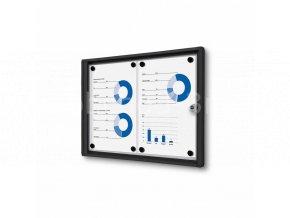 Interiérová vitrína Economy 2xA4 - plechová záda, černá