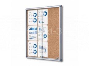 Interiérová vitrína 9xA4, posuvné dveře, korková záda