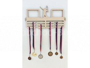 Věšák na medaile - dřevěný s fotorámečkem na 2 ks fotografií - badminton