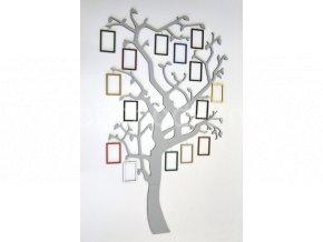 Fotorámeček - Dřevěný strom s rámečky na zavěšení barevně lakovaný multikolor