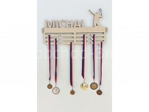 Věšák na medaile - dřevěný se jménem - badminton