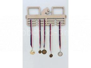 Věšák na medaile - dřevěný s fotorámečkem na 2 ks fotografií - Ping-pong