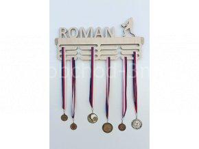 Věšák na medaile - dřevěný se jménem - volejbal