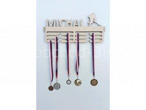Věšák na medaile - dřevěný se jménem - hokej