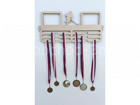 Věšák na medaile - dřevěný s fotorámečkem na 2 ks fotografií - hokej