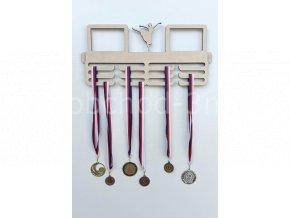 Věšák na medaile - dřevěný s fotorámečkem na 2 ks fotografií - tanec