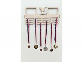 Věšák na medaile - dřevěný s fotorámečkem na 2 ks fotografií - lyžování