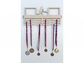 Věšák na medaile - dřevěný s fotorámečkem na 2 ks fotografií - tenis