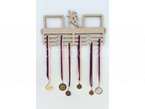 Věšák na medaile - dřevěný s fotorámečkem na 2 ks fotografií - běh