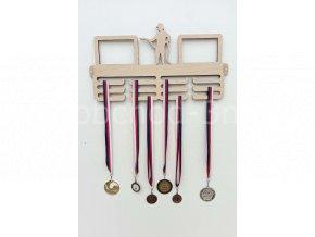 Věšák na medaile - dřevěný s fotorámečkem na 2 ks fotografií - hasič