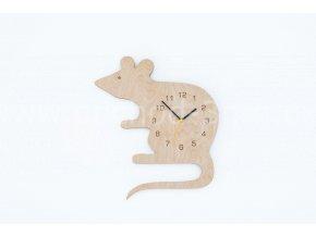 Hodiny dětské dřevěné - myš
