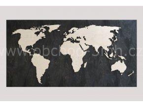 Nástěnná dřevěná MAPA SVĚTA - s podkladní deskou 200x110 cm - BAREVNĚ LAKOVANÁ