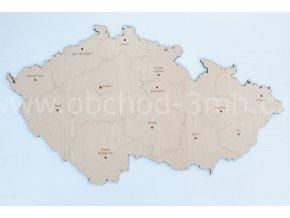Nástěnná dřevěná MAPA ČESKÉ REPUBLIKY
