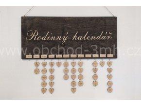 Nástěnný kalendář narozenin dřevěný- s podkladní deskou 80x35cm EBEN
