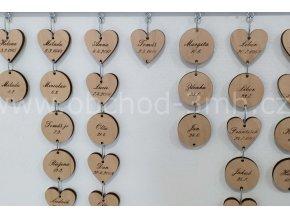 Dřevěné srdce s gravírováním k nástěnnému kalendáři narozenin - S PODKLADNÍ DESKOU 80X35CM EBEN
