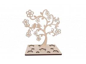 Stojánek na šperky - strom s květy s ptáčky dřevěný