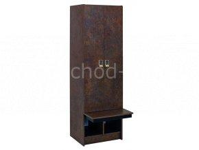 Šatní skříňka 2-dveřová s lavičkou 1970x600x780 laminolamino