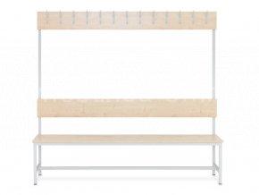 Šatní lavice s věšáky jednostranná, 1800 x 1200 x 430 mm - lamino/kov