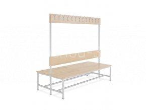 Šatní lavice s věšáky oboustranná, 1800 x 2000 x 830 mm - lamino/kov