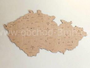 Nástěnná dřevěná MAPA ČESKÉ REPUBLIKY s okresními městy