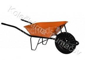 Kolečko stavební KS60 - oranžová korba - nafukovací kolečko