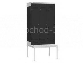 Šatní skříňka 3-dveřová s lavičkou, 2195 x 900 x 780 mm - kovová