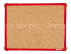 Korková tabule boardOK 60 x 45 cm, červený rám U20