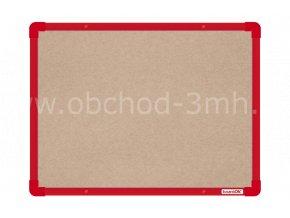 Textilní tabule boardOK 60 x 45 cm, červený rám U20